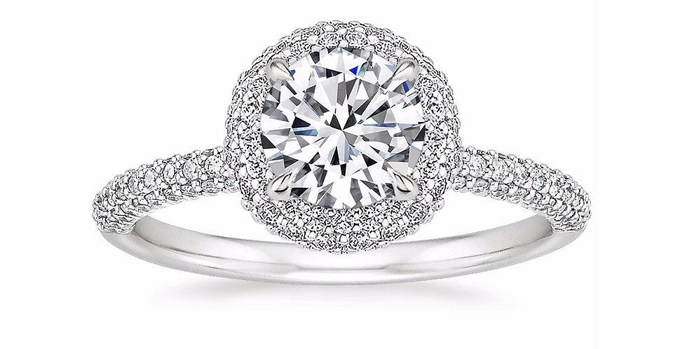 """LION"" ROUND DIAMOND DOUBLE HALO ENGAGEMENT RING"