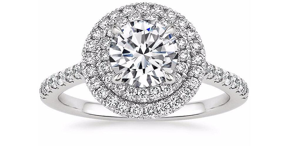 """LOUISE"" ROUND DIAMOND DOUBLE HALO ENGAGEMENT RING"