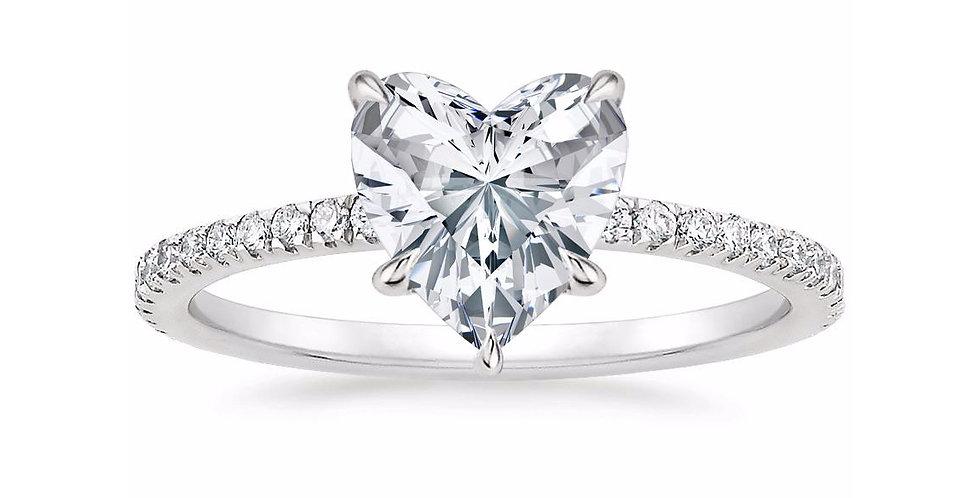 """LOLA"" HEART DIAMOND PAVÉ SOLITAIRE ENGAGEMENT RING"