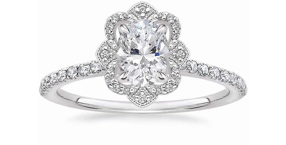"""LOTUS"" OVAL DIAMOND HALO PAVÉ ENGAGEMENT RING"