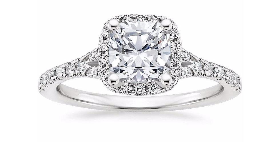 """LIANE"" CUSHION DIAMOND HALO SPLIT SHANK ENGAGEMENT RING"