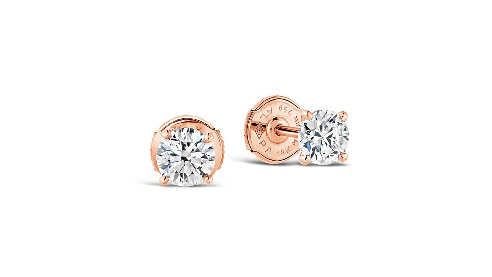 """Lana"" Diamond Stud Earrings in 18K Rose Gold"
