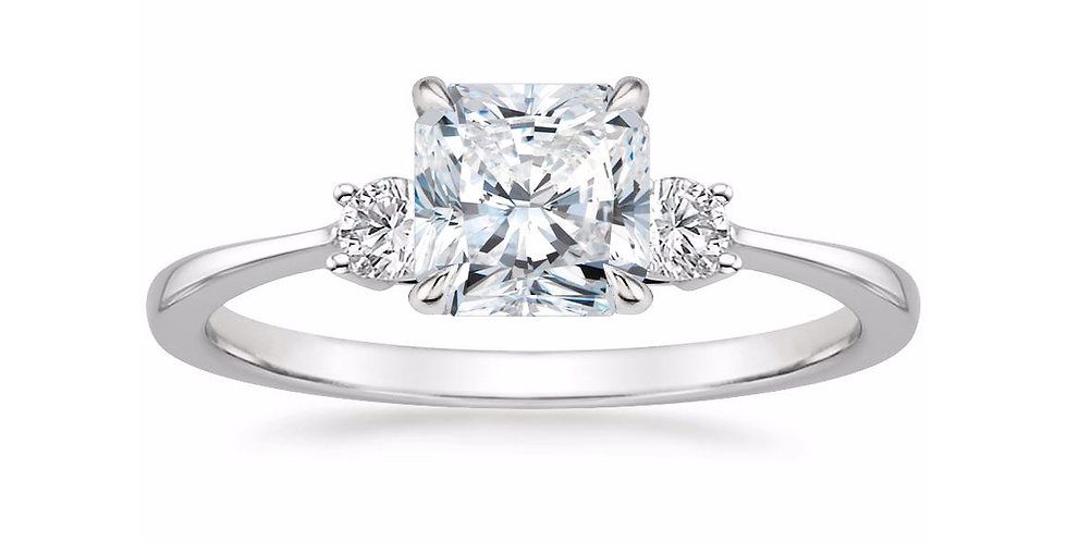 """LIZA"" RADIANT DIAMOND THREE STONE ENGAGEMENT RING"