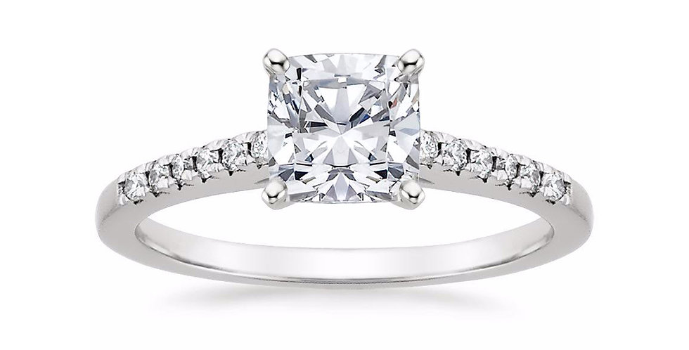 """""""LESSIE"""" CUSHION DIAMOND CATHEDRAL ENGAGEMENT RING"""