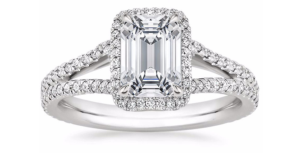 """LINDA"" EMERALD DIAMOND HALO SPLIT SHANK ENGAGEMENT RING"