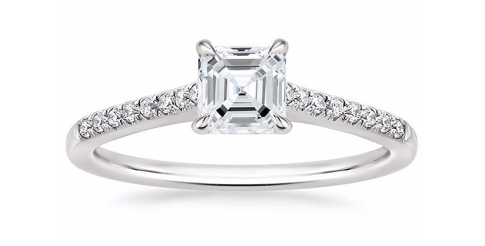 """LUCY"" ASSCHER DIAMOND CATHEDRAL SOLITAIRE ENGAGEMENT RING"
