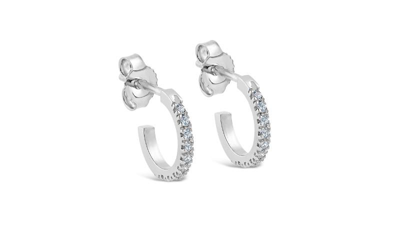 """Kaci"" Diamond Hoop Earrings in 18K White Gold"