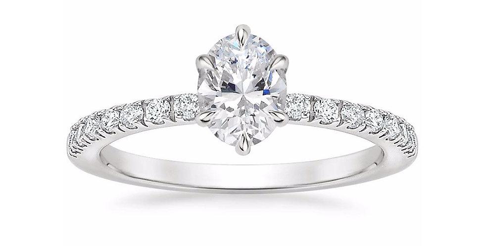 """""""LUNA"""" OVAL DIAMOND PAVÉ SOLITAIRE ENGAGEMENT RING"""