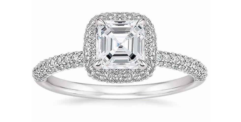 """""""LION"""" ASSCHER DIAMOND DOUBLE HALO ENGAGEMENT RING"""