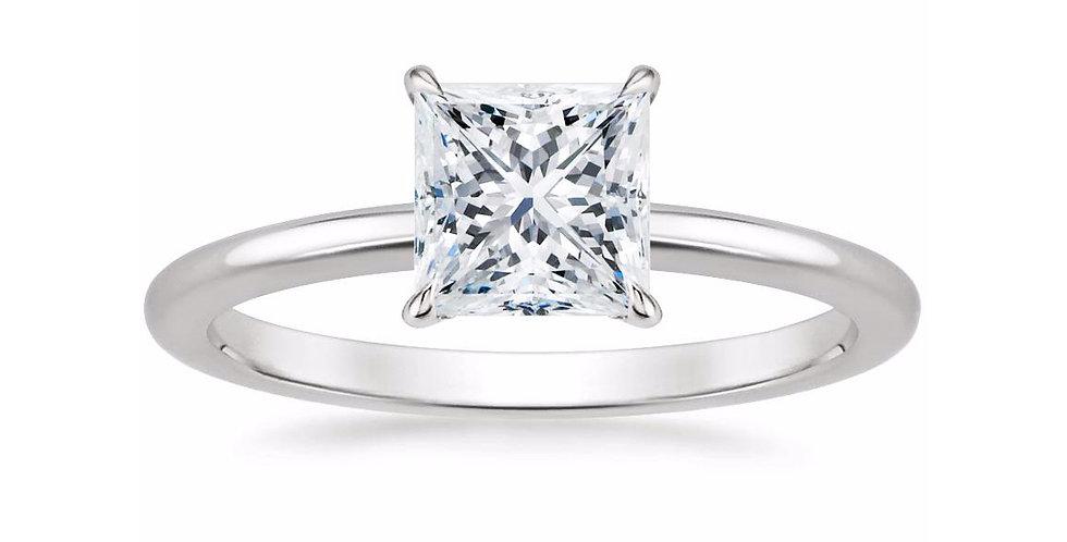 """LIA"" PRINCESS DIAMOND SECRET HALO ENGAGEMENT RING"