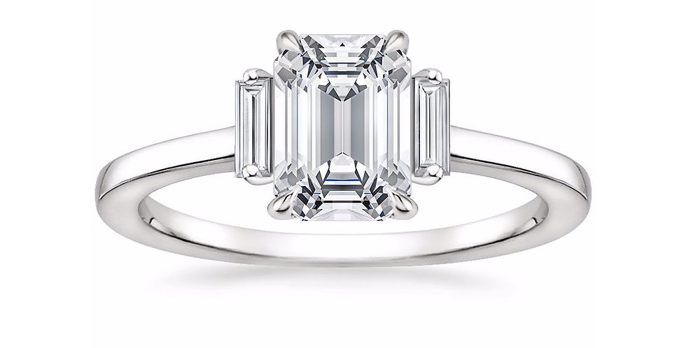 """LILAH"" EMERALD DIAMOND THREE STONE ENGAGEMENT RING"