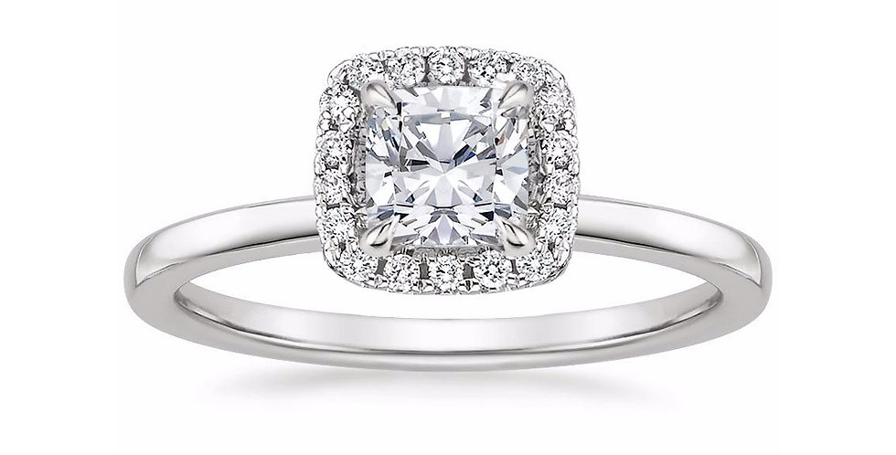 """LIZZIE"" CUSHION DIAMOND HALO ENGAGEMENT RING"