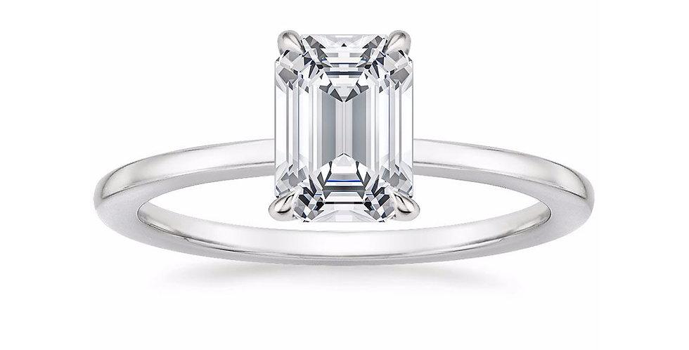 """LEONA"" EMERALD DIAMOND ENGAGEMENT RING"