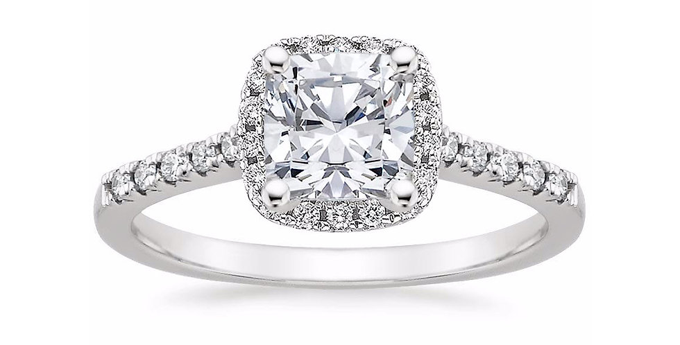 """LOU"" CUSHION DIAMOND HALO PAVÉ ENGAGEMENT RING"