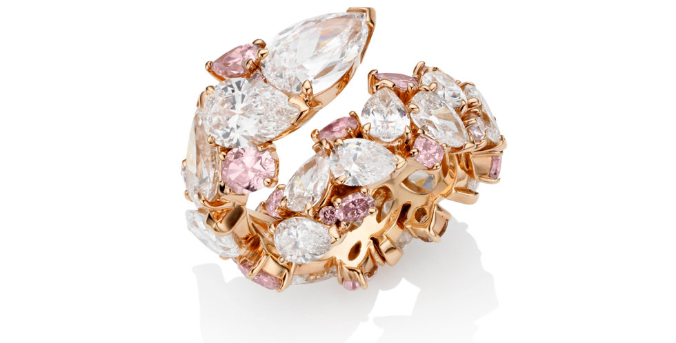 """ROSE TWIST"" WHITE AND PINK DIAMOND RING"