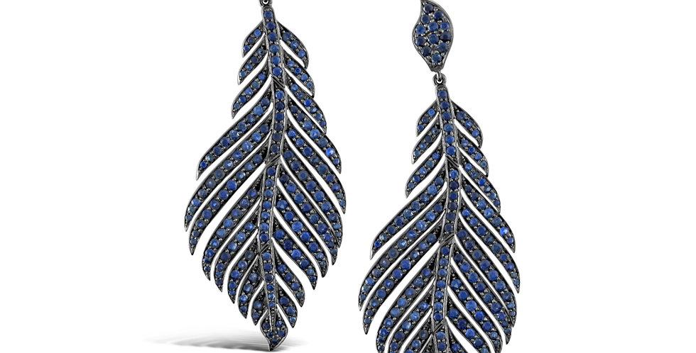 BLUE SAPPHIRE FEATHER EARRINGS