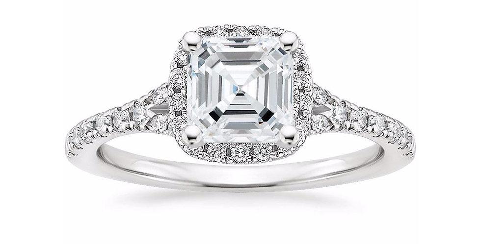 """LIANE"" ASSCHER DIAMOND HALO SPLIT SHANK ENGAGEMENT RING"