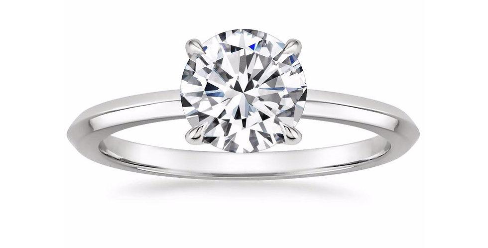 """LORRAINE"" ROUND DIAMOND KNIFE EDGE ENGAGEMENT RING"