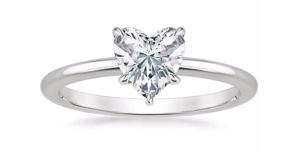 """LIA"" HEART DIAMOND SECRET HALO ENGAGEMENT RING"