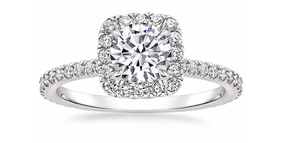 """LEAH"" ROUND DIAMOND HALO ENGAGEMENT RING"