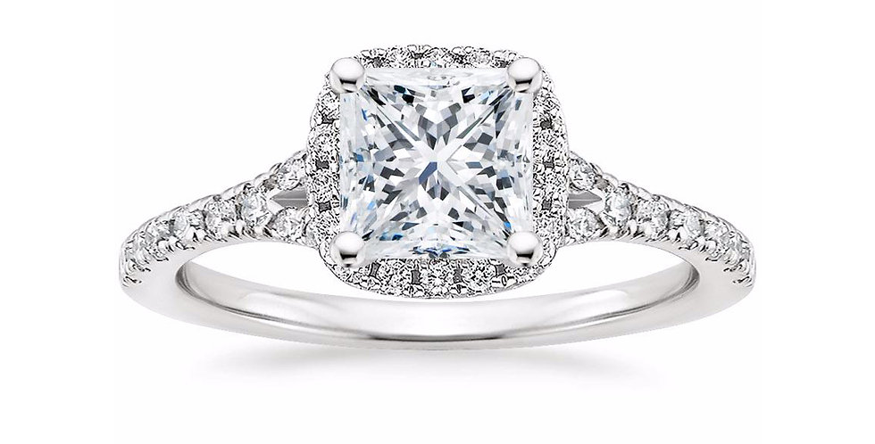 """LIANE"" PRINCESS DIAMOND HALO SPLIT SHANK ENGAGEMENT RING"