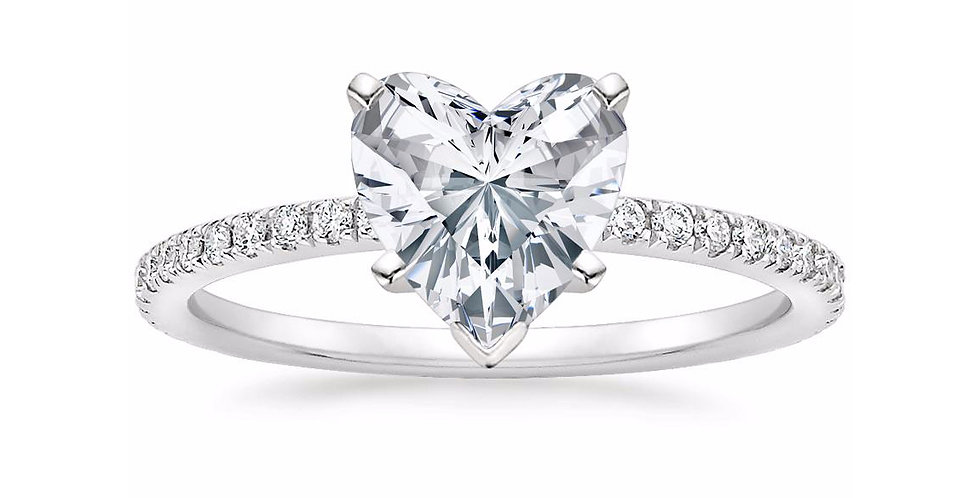 """""""LILY"""" HEART DIAMOND PAVÉ BAND SOLITAIRE ENGAGEMENT RING"""