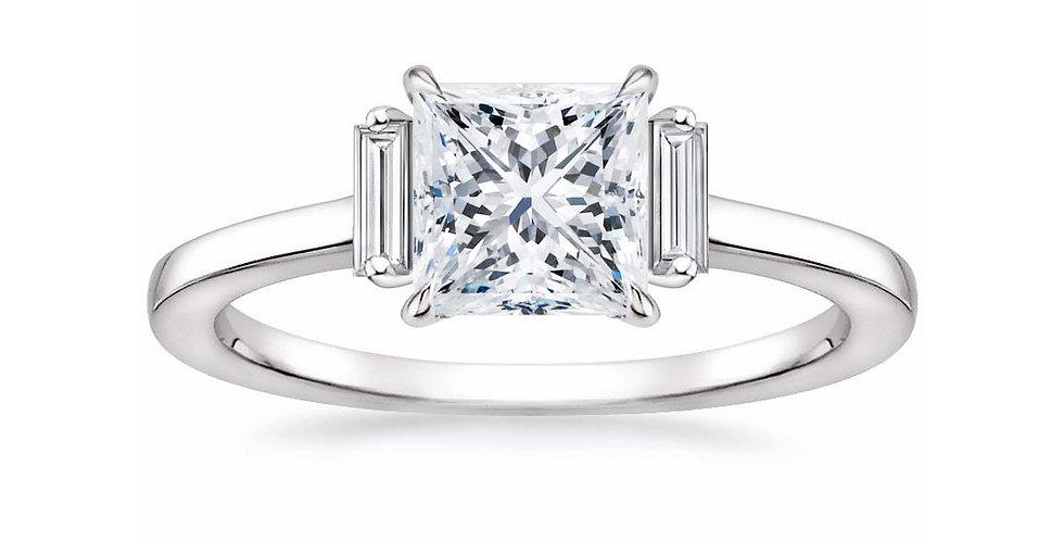 """LILAH"" PRINCESS DIAMOND THREE STONE ENGAGEMENT RING"
