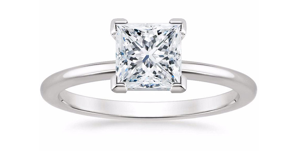 PRINCESS DIAMOND FOUR-PRONG SOLITAIRE ENGAGEMENT RING