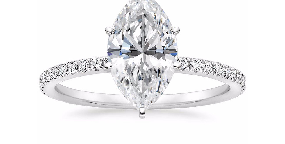 """LILY"" MARQUISE DIAMOND PAVÉ BAND SOLITAIRE ENGAGEMENT RING"