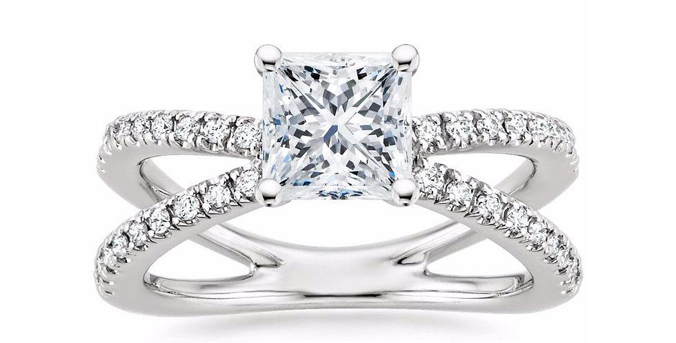 """LAURA"" PRINCESS DIAMOND DESIGNER ENGAGEMENT RING"