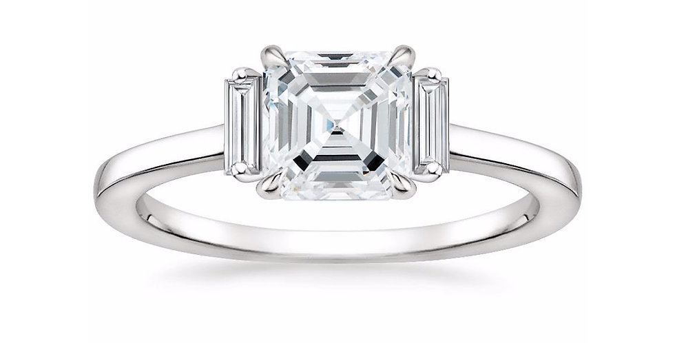 """LILAH"" ASSCHER DIAMOND THREE STONE ENGAGEMENT RING"