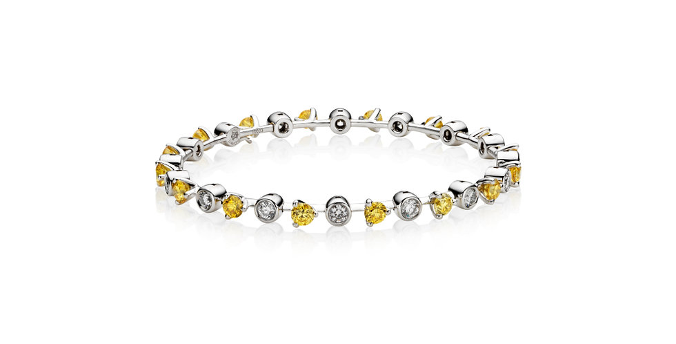 """CONSTELLATION"" YELLOW AND WHITE DIAMOND BANGLE BRACELET"