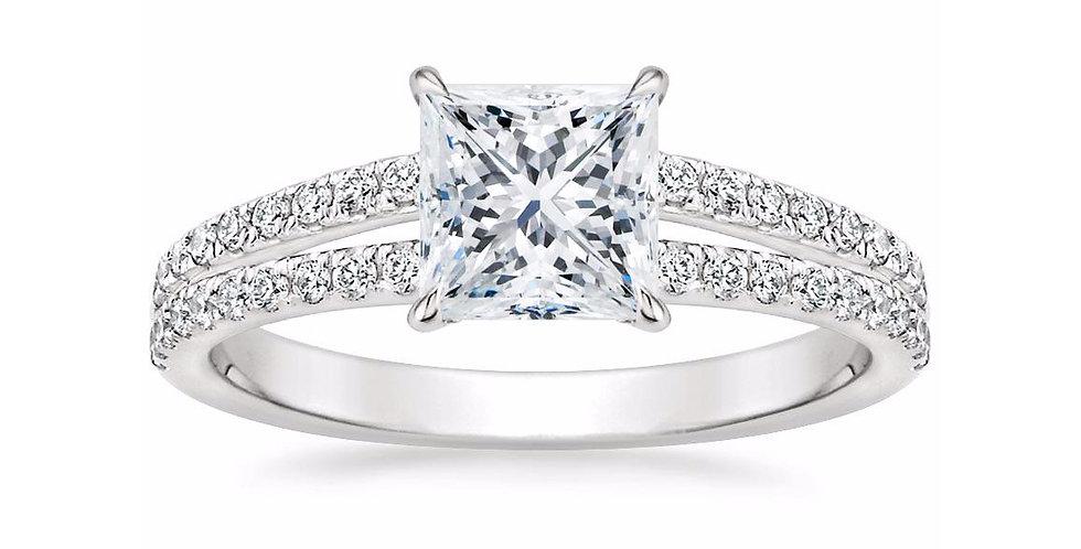"""""""LUISA"""" PRINCESS DIAMOND SPLIT SHANK ENGAGEMENT RING"""