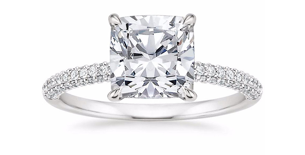 """LARA"" CUSHION DIAMOND MICRO-PAVÉ SOLITAIRE ENGAGEMENT RING"