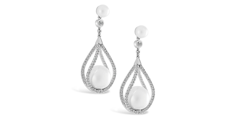 PEARL AND DIAMOND BASKET EARRINGS
