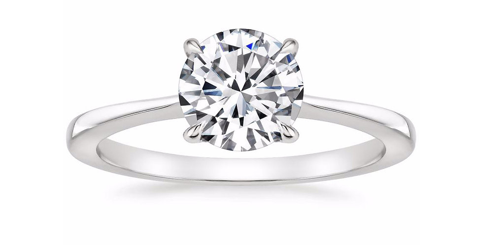 """""""LEAH"""" ROUND DIAMOND TAPERED ENGAGEMENT RING"""