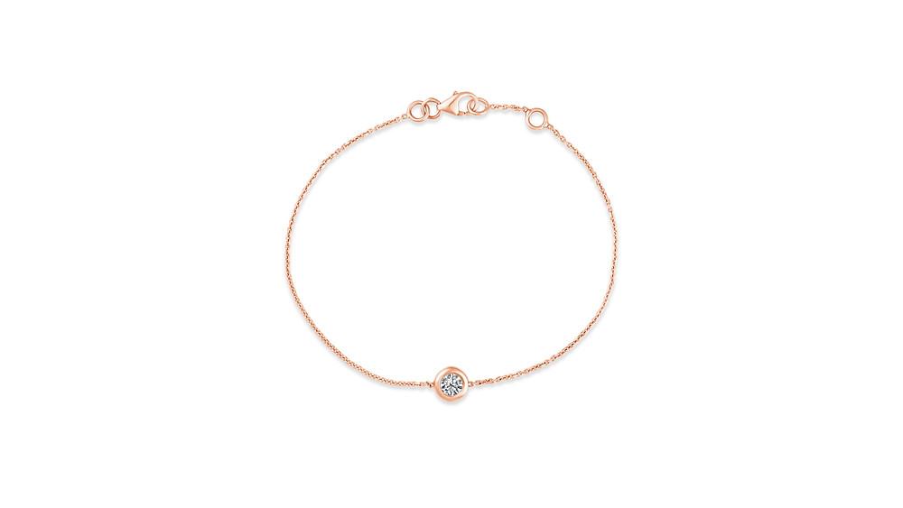Single Diamond Bracelet in 18K Rose Gold
