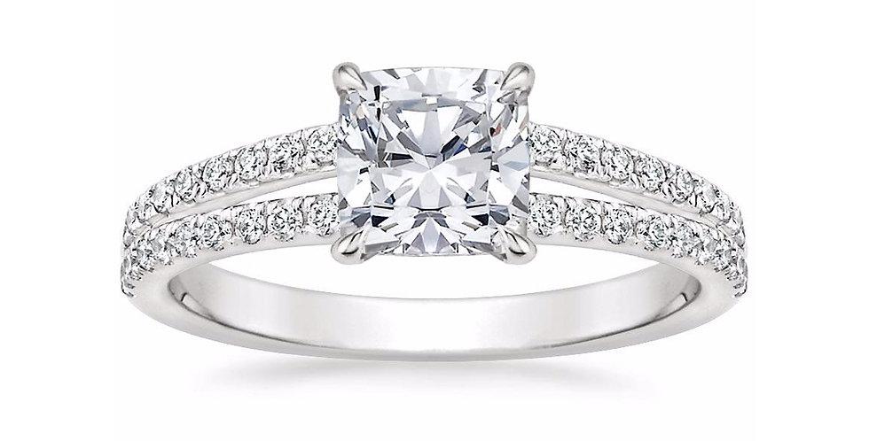 """LUISA"" CUSHION DIAMOND SPLIT SHANK ENGAGEMENT RING"