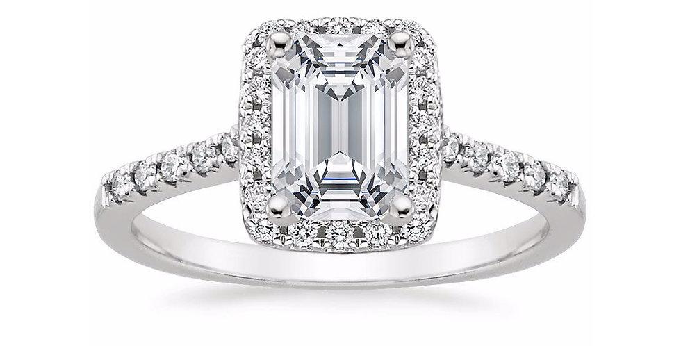 """LOU"" EMERALD DIAMOND HALO PAVÉ ENGAGEMENT RING"