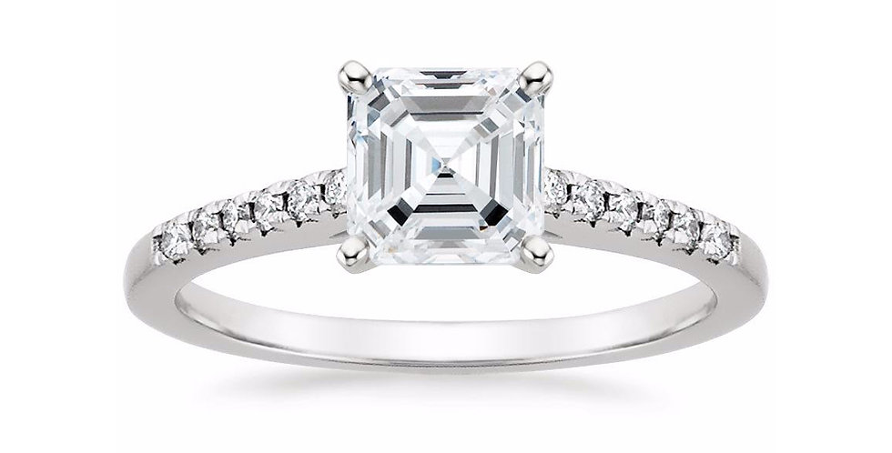 """""""LESSIE"""" ASSCHER DIAMOND CATHEDRAL ENGAGEMENT RING"""