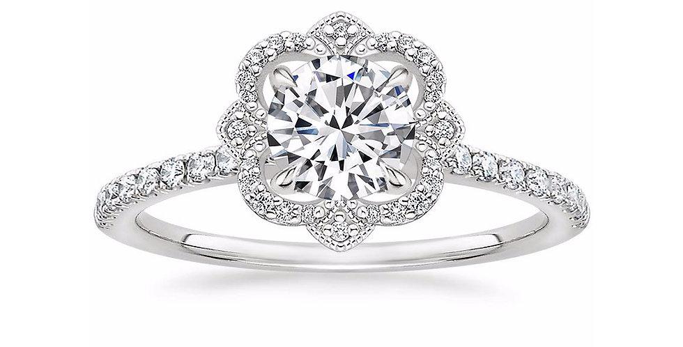 """""""LOTUS"""" ROUND DIAMOND HALO PAVÉ ENGAGEMENT RING"""