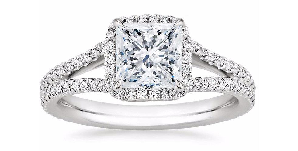 """LINDA"" PRINCESS DIAMOND HALO SPLIT SHANK ENGAGEMENT RING"