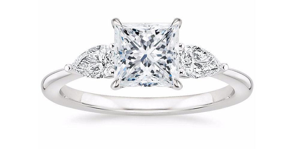 """LAYLA"" PRINCESS DIAMOND THREE STONE ENGAGEMENT RING"