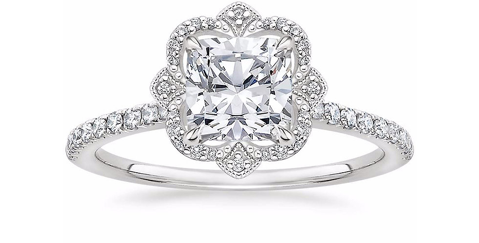 """LOTUS"" CUSHION DIAMOND HALO PAVÉ ENGAGEMENT RING"