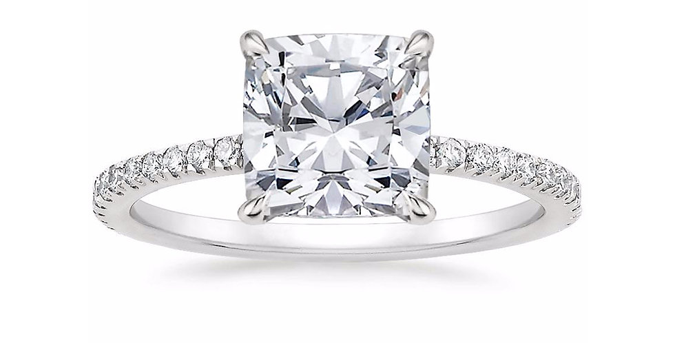 """LOLA"" CUSHION DIAMOND PAVÉ SOLITAIRE ENGAGEMENT RING"