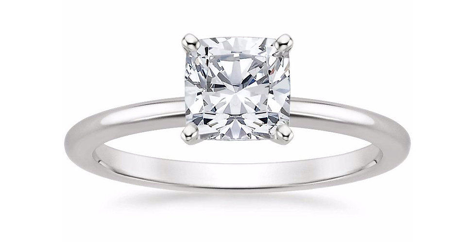 CUSHION DIAMOND FOUR-PRONG SOLITAIRE ENGAGEMENT RING