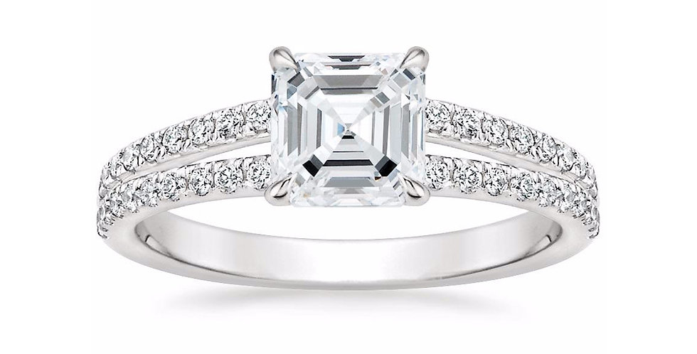 """LUISA"" ASSCHER DIAMOND SPLIT SHANK ENGAGEMENT RING"