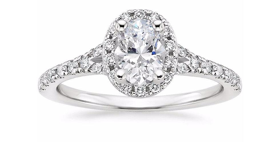 """LIANE"" OVAL DIAMOND HALO SPLIT SHANK ENGAGEMENT RING"