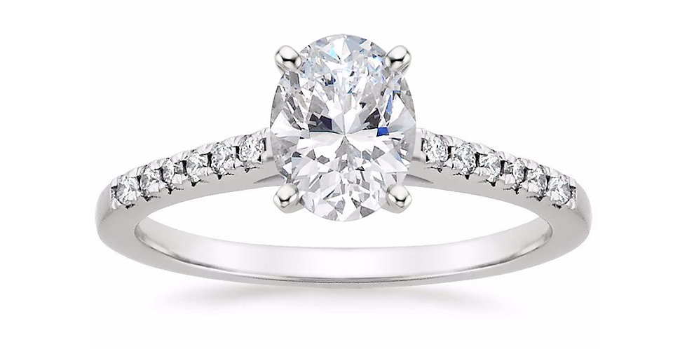 """""""LESSIE"""" OVAL DIAMOND CATHEDRAL ENGAGEMENT RING"""