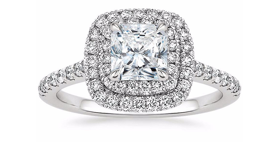"""LOUISE"" RADIANT DIAMOND DOUBLE HALO ENGAGEMENT RING"